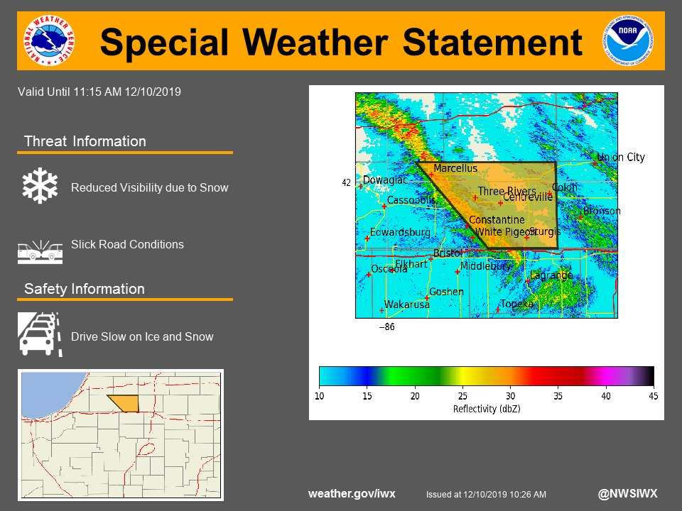 SPECIAL WEATHER STATEMENT...A BAND OF OF MODERATE TO HEAVY SNOW ...graphic posted to