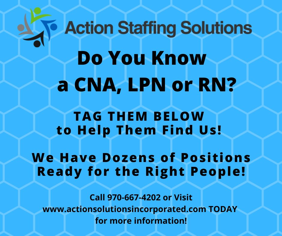 We have several openings for CNA's, LPN's and RN's in both Colorado and California! Tag your friends who are in the nursing profession and in the market for a new career with a company who genuinely cares about our employees! #CNA #LPN #RN #WeHeartNurses #ActionCares #newjob