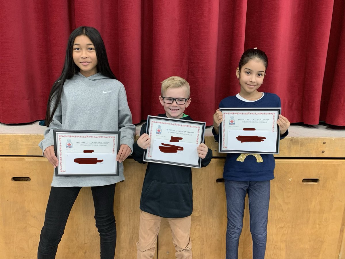 Incredibly proud of these three youngsters who competed in the ⁦@RCL_DC⁩ annual #RemembranceDay poster and essay contest.  They put a lot of effort into honouring our Canadian veterans in words and pictures. #discipleship<br>http://pic.twitter.com/UEHLFvQd8K