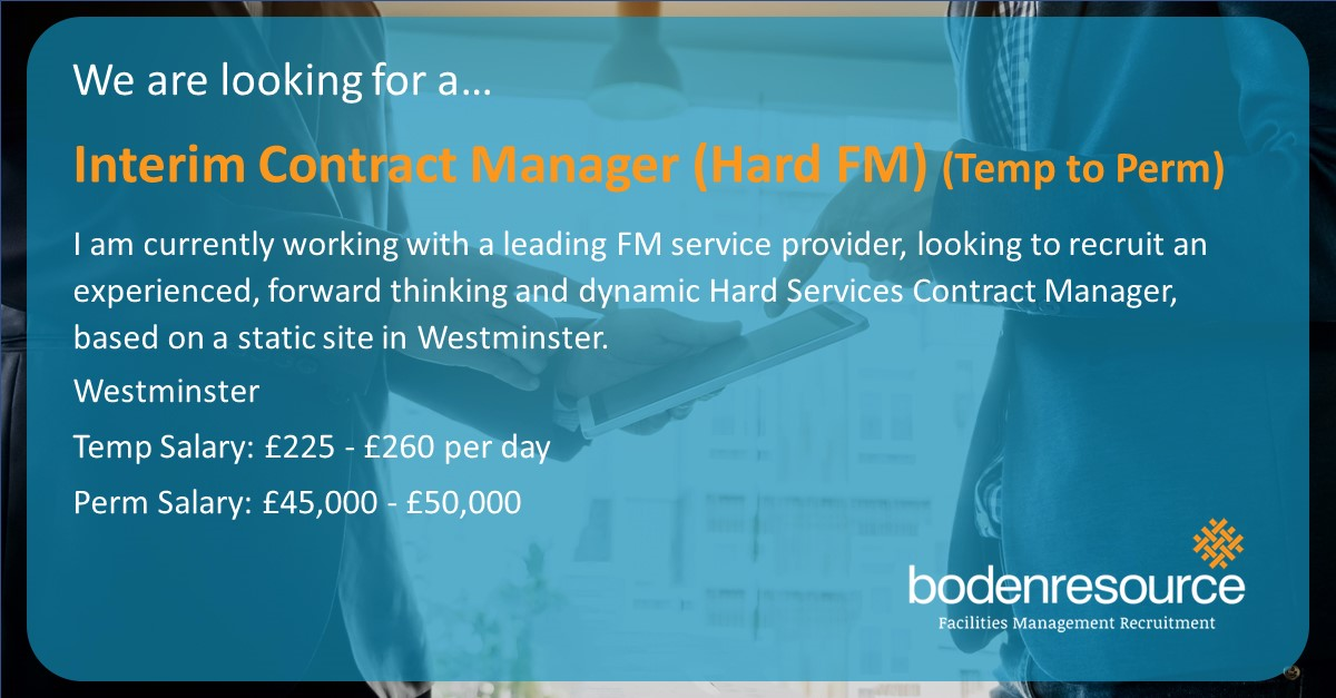 #NewJob Interim Contract Manager (Hard FM) -  £225 - £ 260 per day - WestminsterIf you are interested in this role please apply: http://bit.ly/2rRzb8H #fm #facilitiesmgmt  #facilitiesmanagement  #commercial  #jobs #newjobalert  #London
