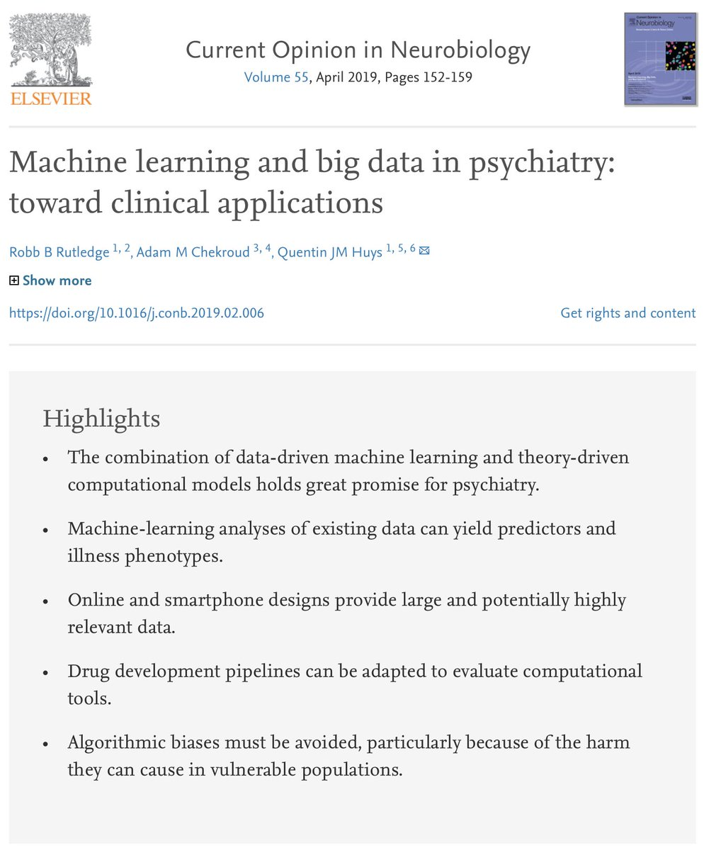 Machine learning and big data in psychiatry: toward clinical applications sciencedirect.com/science/articl…
