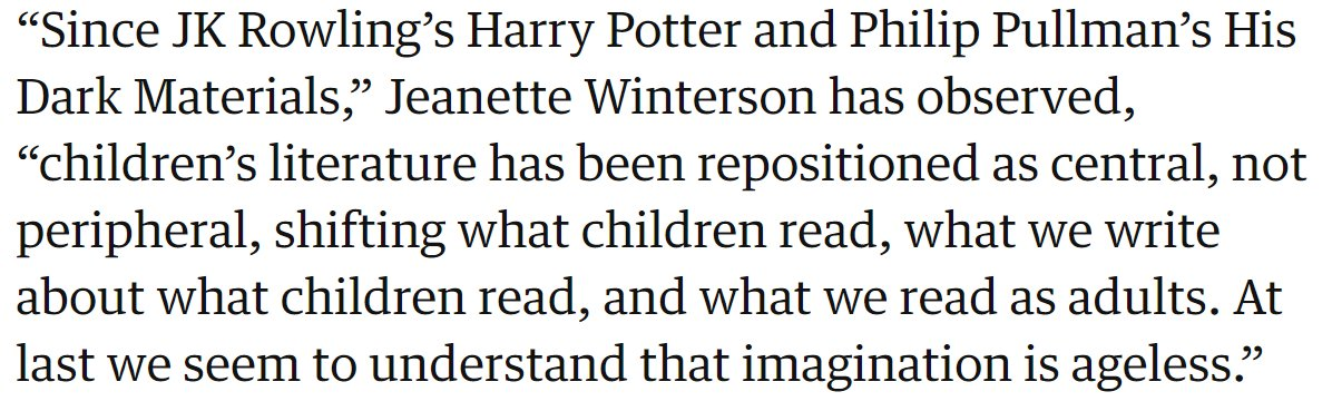 Maybe we need to talk more about children's books in secondary ELA classrooms (and everywhere else). Quoted in  https://www. theguardian.com/books/2015/feb /16/childrens-books-are-never-just-for-children  …  #NCTEvillage #TeachingReading<br>http://pic.twitter.com/gtb9lyaDjx