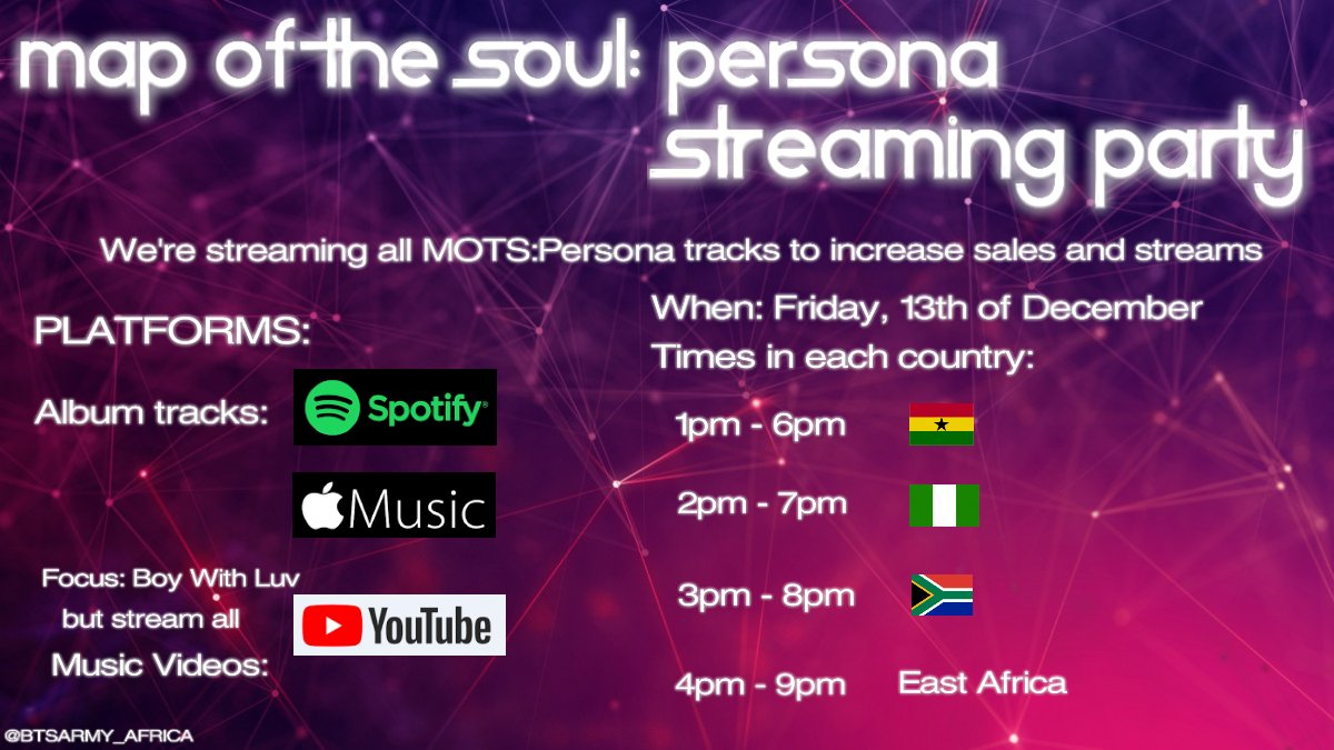 Hello East African Army!             This Friday, we'll be joining in on a streaming party with South Africa , Nigeria  and Ghana . Save the date!   Time: 16:00 - 21:00 EAT [4pm - 9pm] Date: 13/12/2019 (Dm for inquiry or help) #BTSEastAfrica<br>http://pic.twitter.com/9RDyGg2FIC
