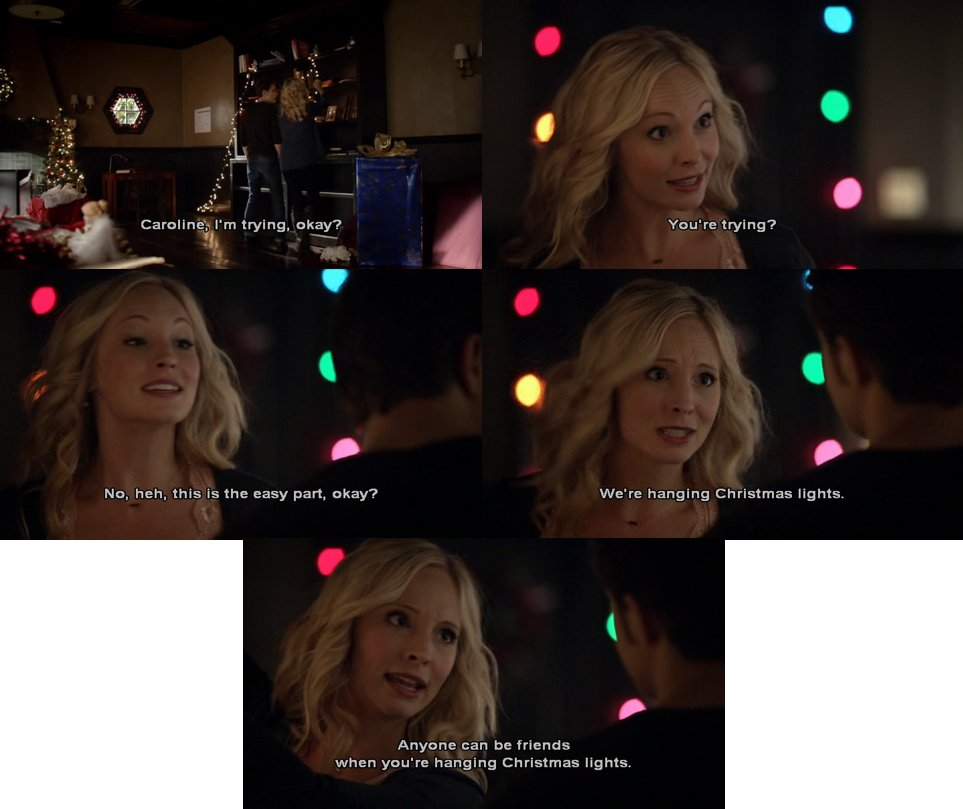 #Stefan: I'm trying, ok? #Caroline: You're trying? No. This is the easy part, okay? We're hanging #Christmas lights. Anyone can be friends when you're hanging Christmas lights. #TVD #TheVampireDiaries #Steroline #StefanAndCaroline #CarolineandStefanpic.twitter.com/7wJhv2ORrD