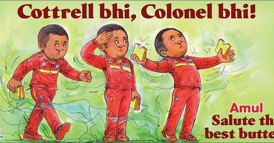 Amul's take on West Indian bowler's unusual wicket taking celebration! #Marketingmind #amul<br>http://pic.twitter.com/POmDpejEcf