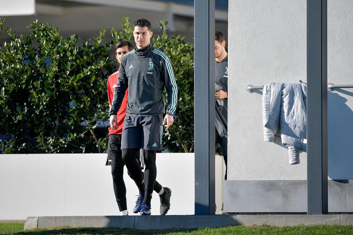 FINAL TRAINING SESSION: Cristiano Ronaldo training ahead of tomorrows Champions League game against Bayer Leverkusen. 🐐