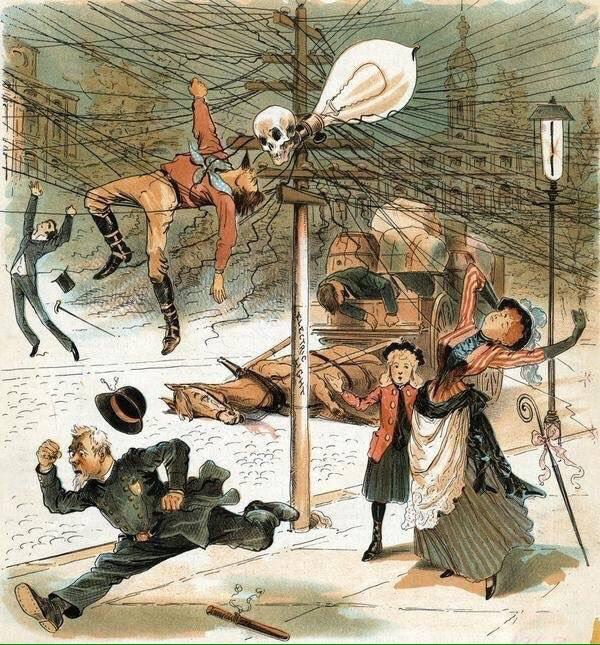 Anti-electricity cartoon from 1889. <br>http://pic.twitter.com/DZrMWKghgY