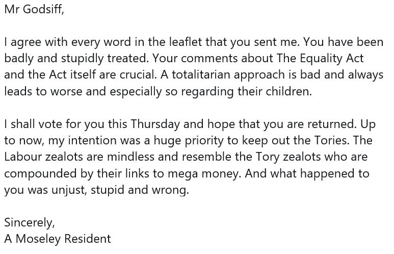 I have received many kind messages of support during the campaign and thought I would share this one from a Moseley resident. #Vote4 #GeneralElection2019 https://t.co/BTjtEKvag4