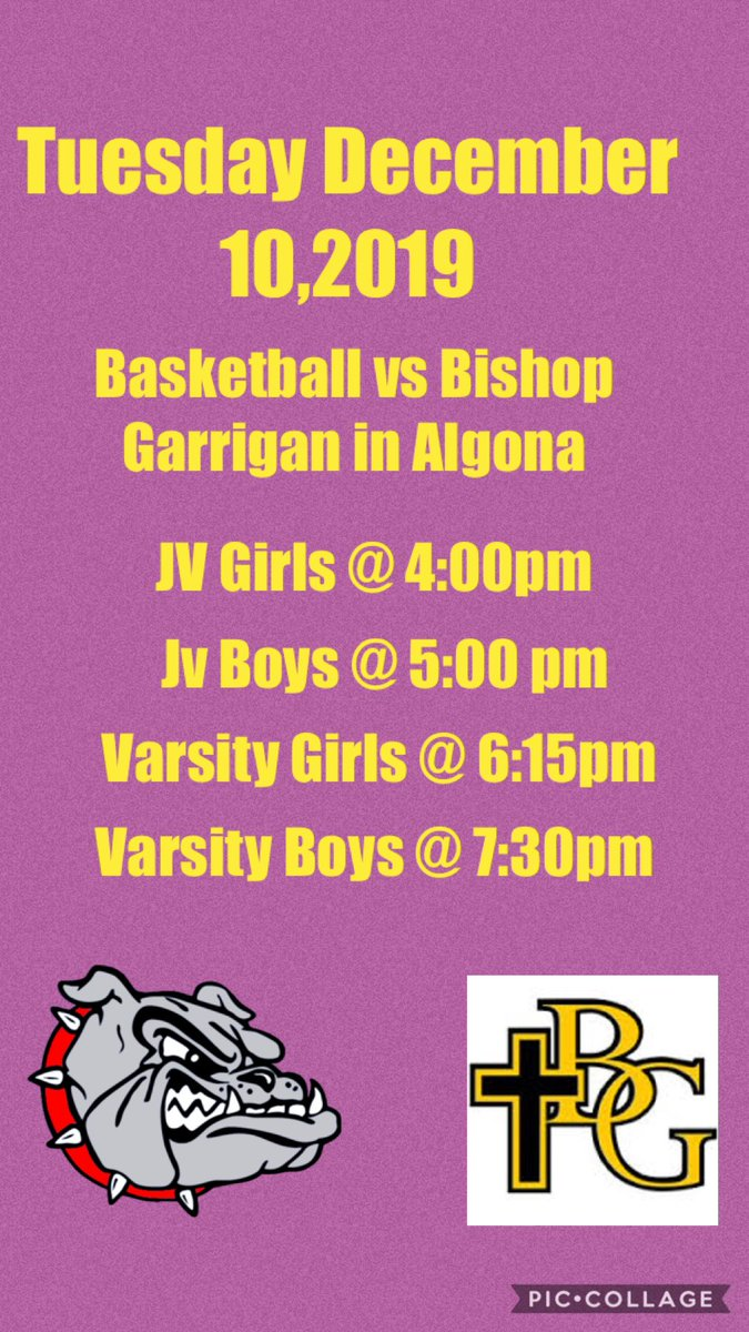 Bulldogs fans it is a busy night for our bulldogs athletes. The Basketball teams will be on the road tonight in Algona for their games vs Bishop Garrigan.  💛💜🏀#GoBulldogs
