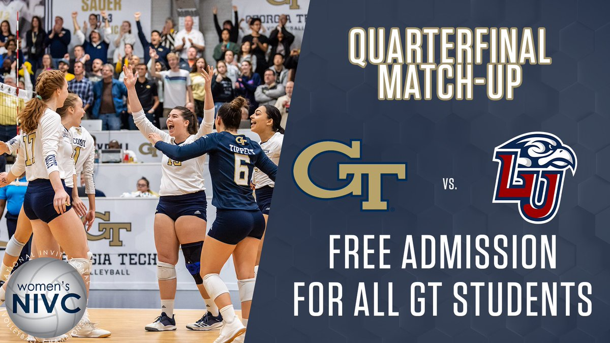 Attention Georgia Tech students: Admission tonight's @WomensNIVC quarterfinal match is FREE for students!
