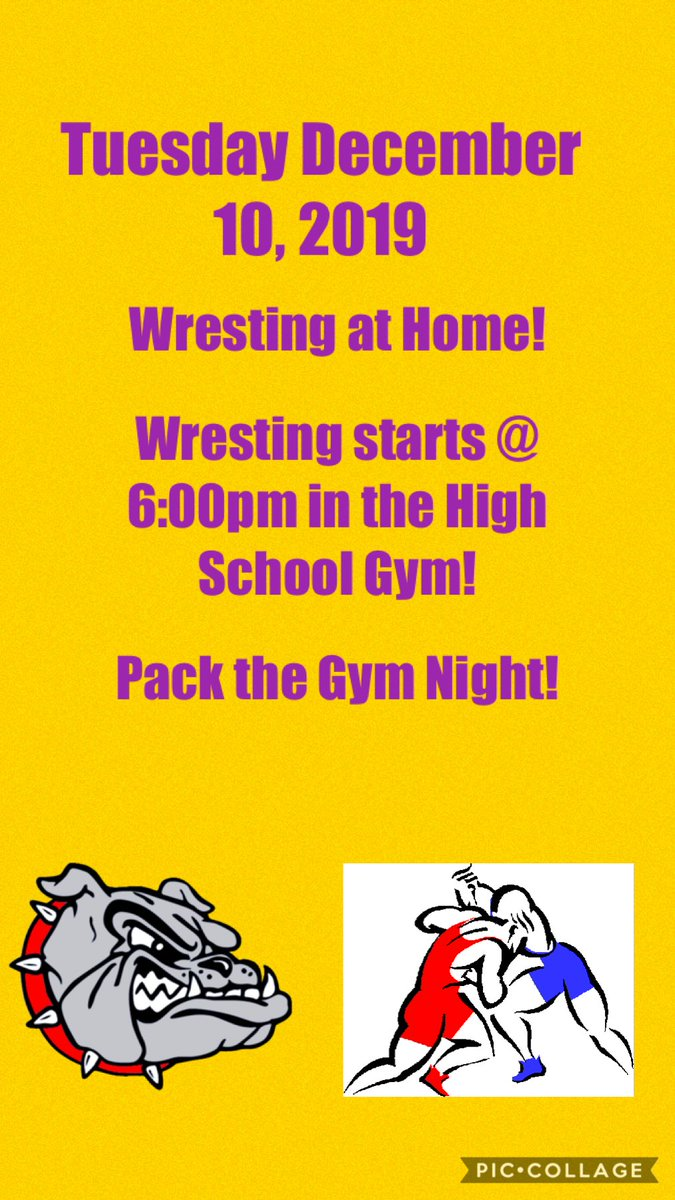 The second event going on tonight is happening right in the Lake Mills High School Gym. The Bulldogs Wresting team will host there first home meet of the season tonight with action starting at 6:00pm. Be early and pack the gym.  💛💜🤼♂️#GoBulldogs @LMwrestling_