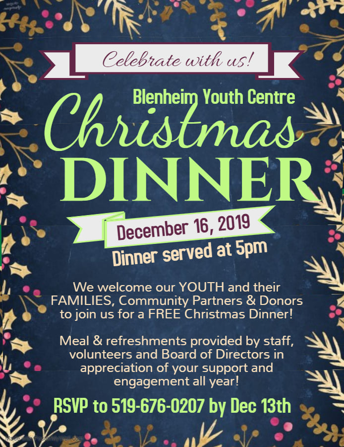 Join the@BlenheimYouth  for their Annual Christmas Dinner. December 16th. Dinner is served at 5pm - all welcome before that! RSVP the number of people attending in your family! 519-676-0207  #YourTVCK #ckont #TrulyLocal #Christmas2019 #BYC #Blenheim #ChristmasDinner