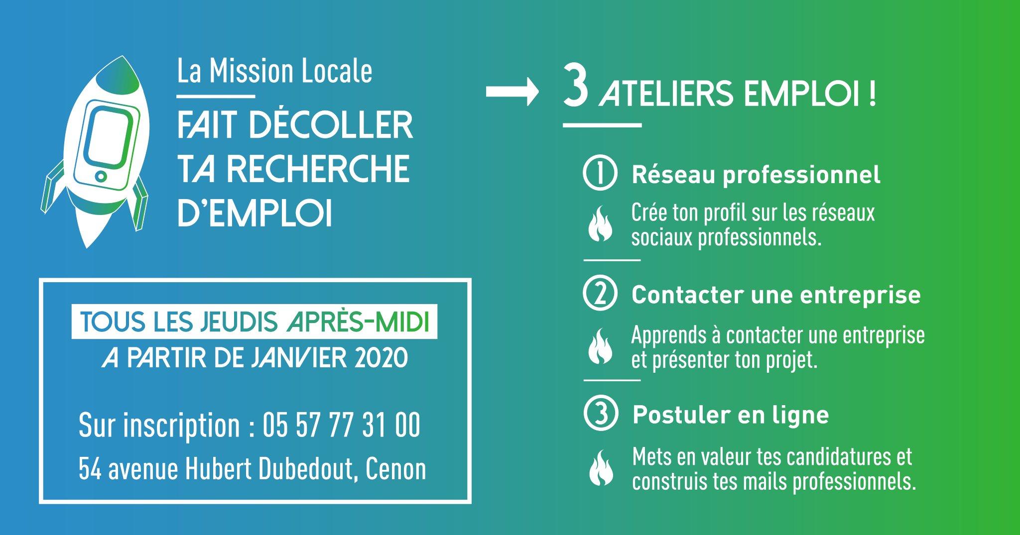 Une info à partager aux lormontais ! #MissionLocale #ateliers #emploi #insertionpro @MissionlocaleHG twitter.com/MissionlocaleH…