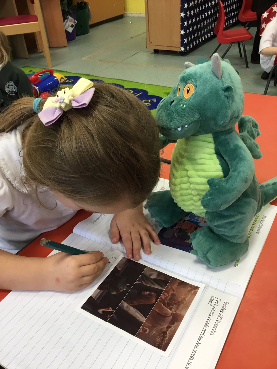 We had a visitor in our classroom today #ExcitableEdgar We retold his story to each other and he has inspired us to write today - he's keeping a close eye on us whilst we do it - fingers crossed he doesn't get excited and set fire to our books! @jlandpartners @waitrose