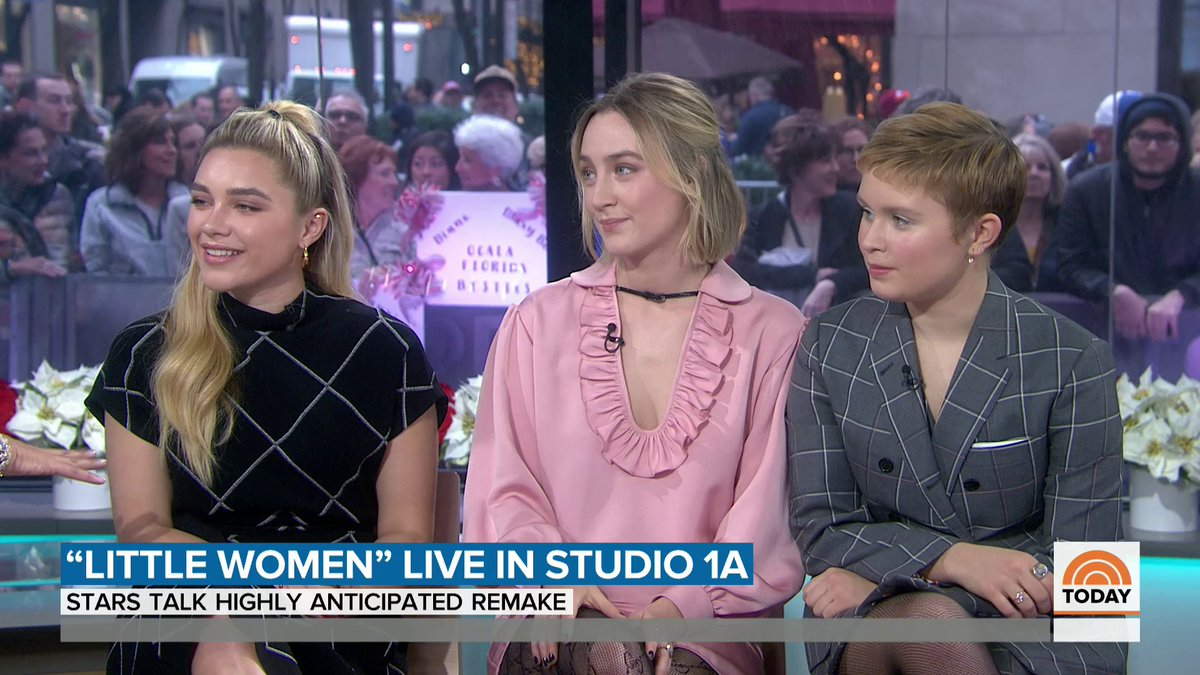 """Little Women"" stars Saoirse Ronan, Eliza Scanlen and @Florence_Pugh talk about the #GoldenGlobes director category controversy, preparing for the sister fights in the movie, relearning how to play piano and approaching the film's director Greta Gerwig about being in the film!"