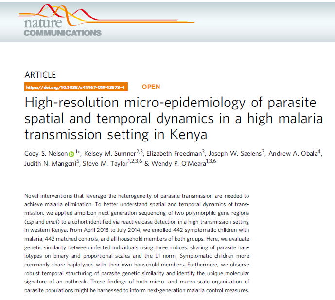 Using whole genome sequencing to investigate the epidemiology of parasite spatial and temporal dynamics in a high malaria transmission setting in Kenya. Via @NatureComms https://www.nature.com/articles/s41467-019-13578-4…