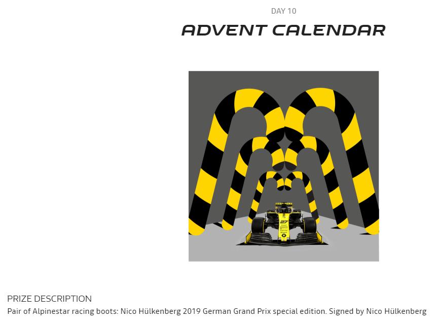 Aujourd'hui, dans le calendrier de l'Avent Renault : gagnez une paire de chaussures de Nico Hülkenberg spécial #GermanGP, dédicacées et portées en course. La légende dit que ce sont elles qui lui ont coûté le podium. #F1 https://www.renaultsport.com/2019-advent-calendar.html…