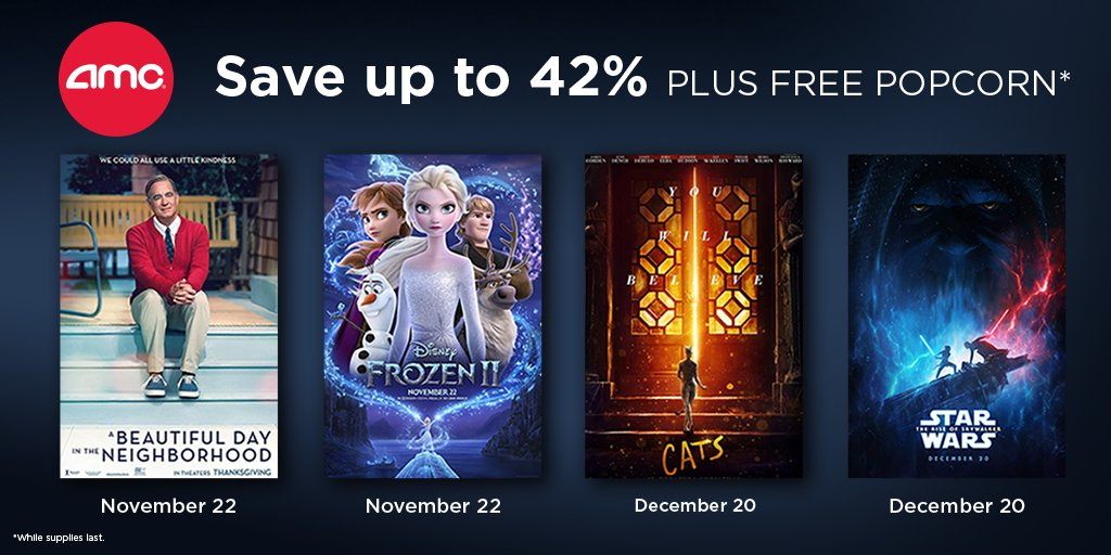 LIMITED-TIME OFFER: Use your #AAADiscounts to save up to 42% on AMC movie tickets plus get a free popcorn (while supplies last).