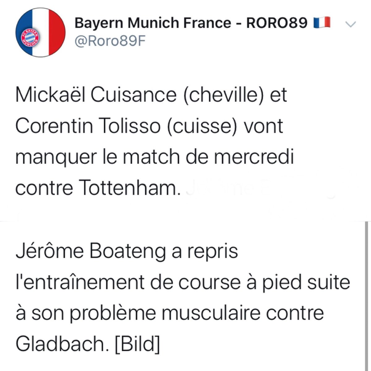 Info du #Bayern vs #Tottenham #FCBTOT  Merci à @Roro89F !!! #GNABRY disponible ! https://t.co/t7AL1yQ9KB