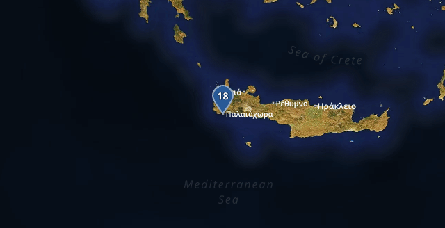 Warmest Greek location is #Palaiochora: 18℃ Time: 16:31:51<br>http://pic.twitter.com/fuRXjBETwY