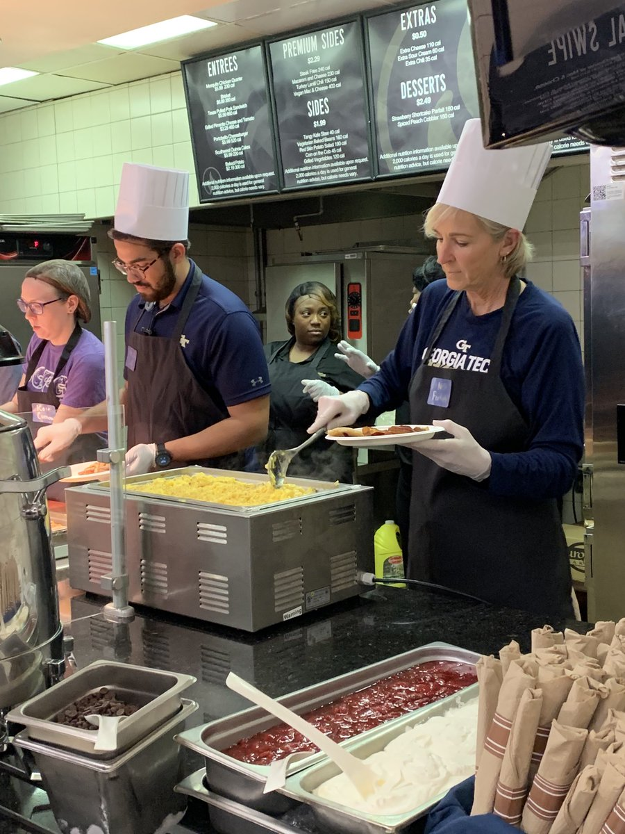 Good luck on your finals @GeorgiaTech students!! Serving breakfast last night to all of the bright minds(altho a little stressed right now)was big fun!! Keep studying hard, staying positive and knock 'me out!! Y'all can do this!!! #TogetherWeSwarm!! @GTWBB