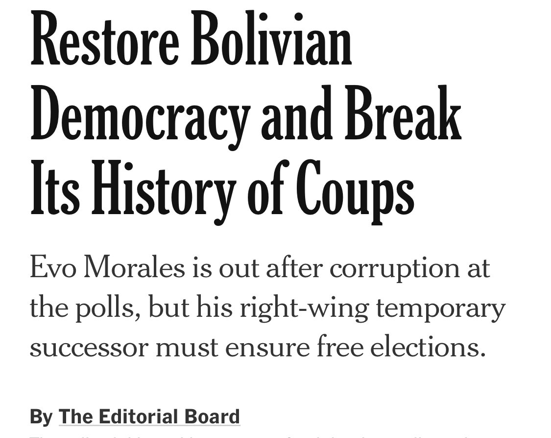 "The NYT has shifted on Bolivia from pro-coup to aligning itself with parts of the ""gringo left"" that insist on demonizing Evo, MAS, and Indigenous supporters for ""overreach."" The North's third way — ""neither Evo nor coup"" — is still the imperialist way. <br>http://pic.twitter.com/b9reTc4vsy"