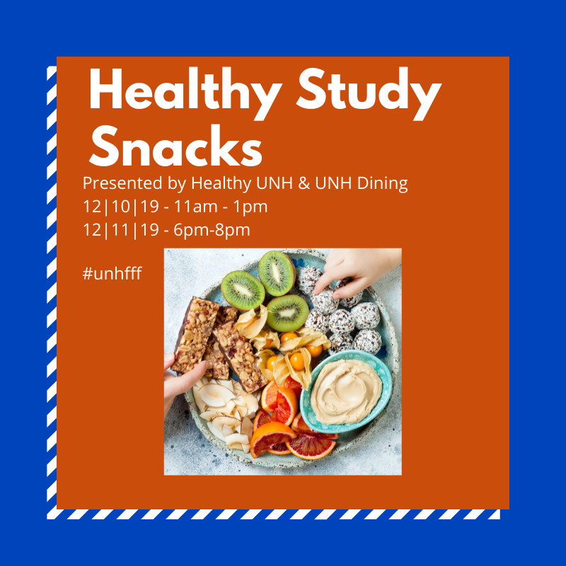 Join us at 11am today for some Healthy Study Snacks, a Frazzle Free Finals event, presented by Healthy UNH and UNH Dining  in the Dimond Library Lobby! #unhfff #UNHLibrary #ThisIsUNH