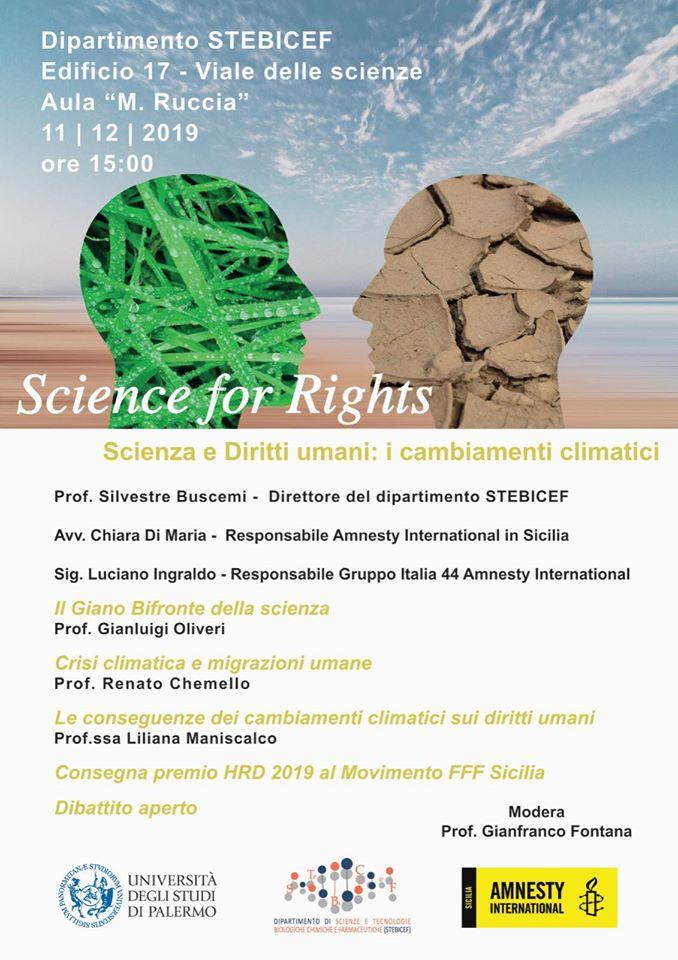 〰Science for Rights〰 Il Dipartimento #STEBICEF #UniPa e @Amnestysicilia  dialogano di cambiamenti climatici e diritti umani  🏆Assegnazione Premio #HRD2019 al Movimento #FFF Sicilia 📌11/12 h15 Aula Ruccia - Dip. STEBICEF (Ed. 17, viale delle Scienze)