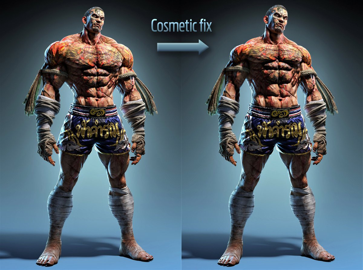 The new character is nice. Loved his animations and moves. The only things about him I can complain is that his shoulders and pecs are too big and i think he has too much going on in his torso. His scars and tattoos clash a bit. Kinda hard to see them both in detail. <br>http://pic.twitter.com/PT0c5v9vlS