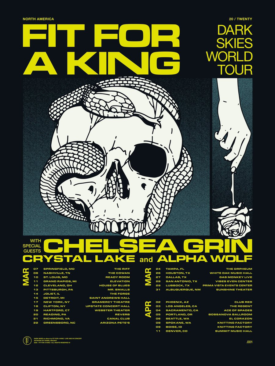 We are pleased to announce the first portion of our world tour for Dark Skies. We're thrilled to have Chelsea Grin, Crystal Lake, and Alpha Wolf be on it!   VIP and limited venue pre-sale is available now at  http:// ffak.soundrink.com      GA tickets on sale Friday at 10am local.<br>http://pic.twitter.com/1C3nqqt6Mj
