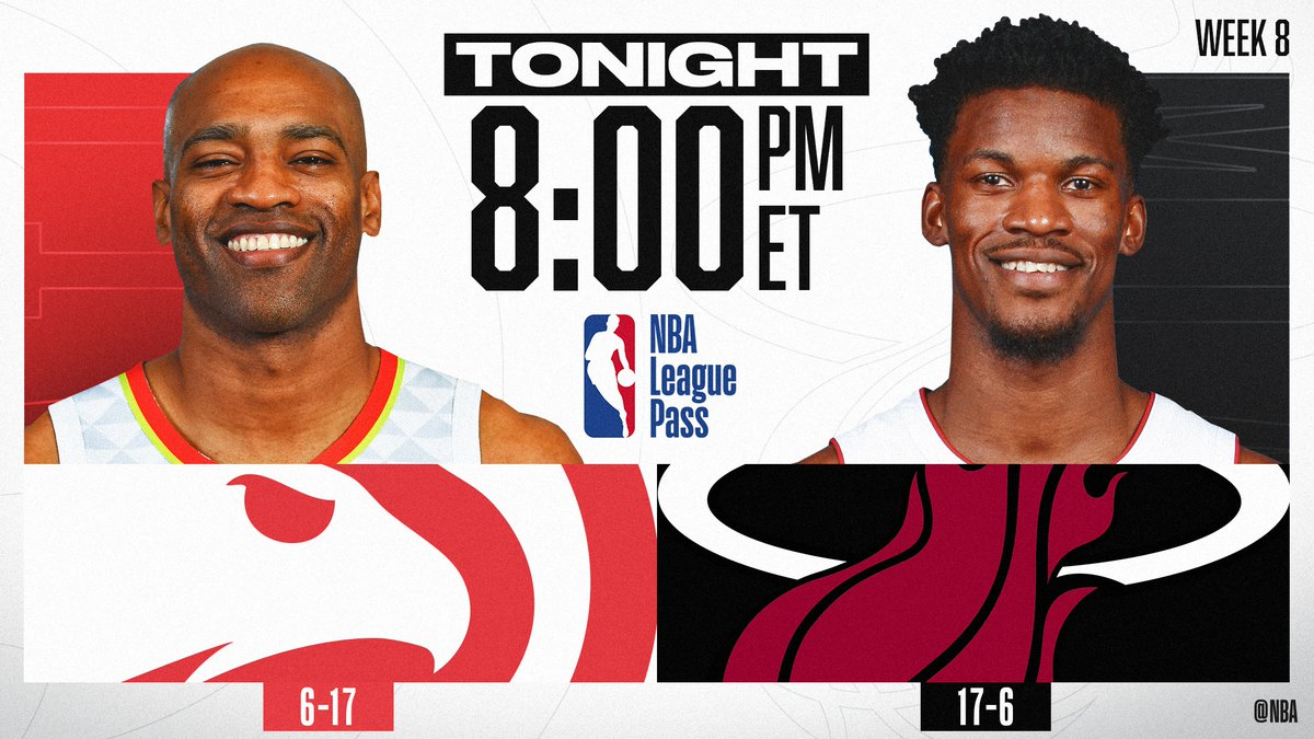TONIGHT on NBA League Pass (8pm/et), @mrvincecarter15 suits up for his 1500th game as the @ATLHawks take on @JimmyButler and the @MiamiHEAT! Who ya got?   📲💻: https://nba.app.link/leaguepass1