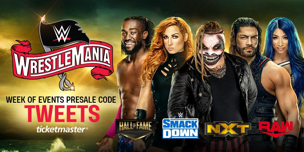 #WWEHOF. #SmackDown. #NXTTakeOver. #RAW.It's all happening during this year's #WrestleMania Week of Events, and you can get your tickets TOMORROW at 10am ET! http://po.st/scms/OrMCe04Lcp0lOFmbYiQ9SO517y_OS3LxW8gAa04Lcg/UBwpV?sf225676536=1 … Use presale code: TWEETS
