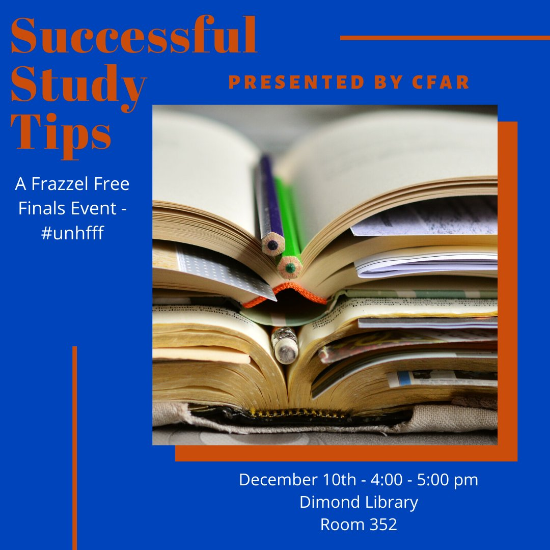 Need some last minute study tips? Come consult with UNH CFAR today from 4:00-5:00pm in Dimond room 352! #unhfff #UNHLibrary #CFAR #finals