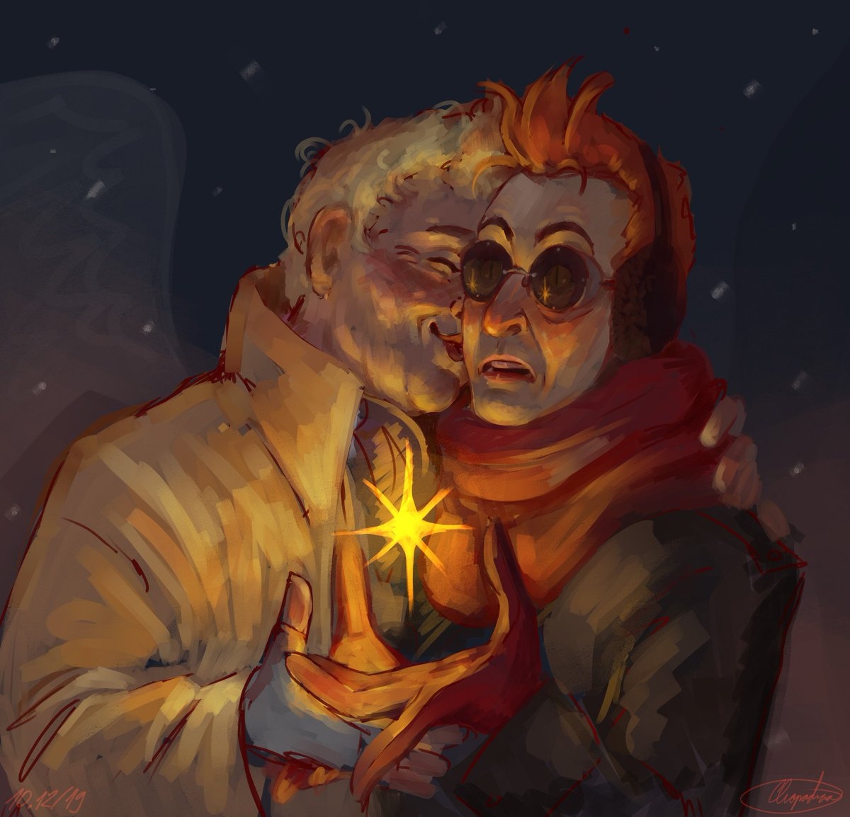 Here, rushed kissy wintry thing. I have a presentation tomorrow and i literally couldn't get myself to work on it until i sketch-painted something. #GoodOmensFanArt #GoodOmens #ineffablehusbands #winter<br>http://pic.twitter.com/r2DGisQQni