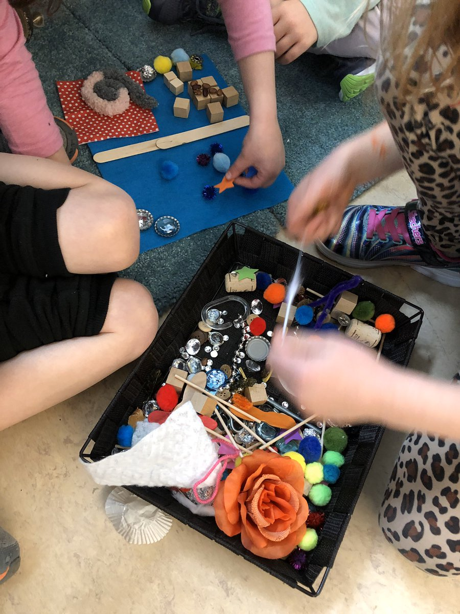 """Using loose parts to collaborate and share ideas to create a scene from the book """"Dog vs Cat"""" - we haven't seen the illustrations yet, I wonder if using the information from the text will help us create an accurate picture? <a target='_blank' href='https://t.co/3hlXJqScte'>https://t.co/3hlXJqScte</a>"""