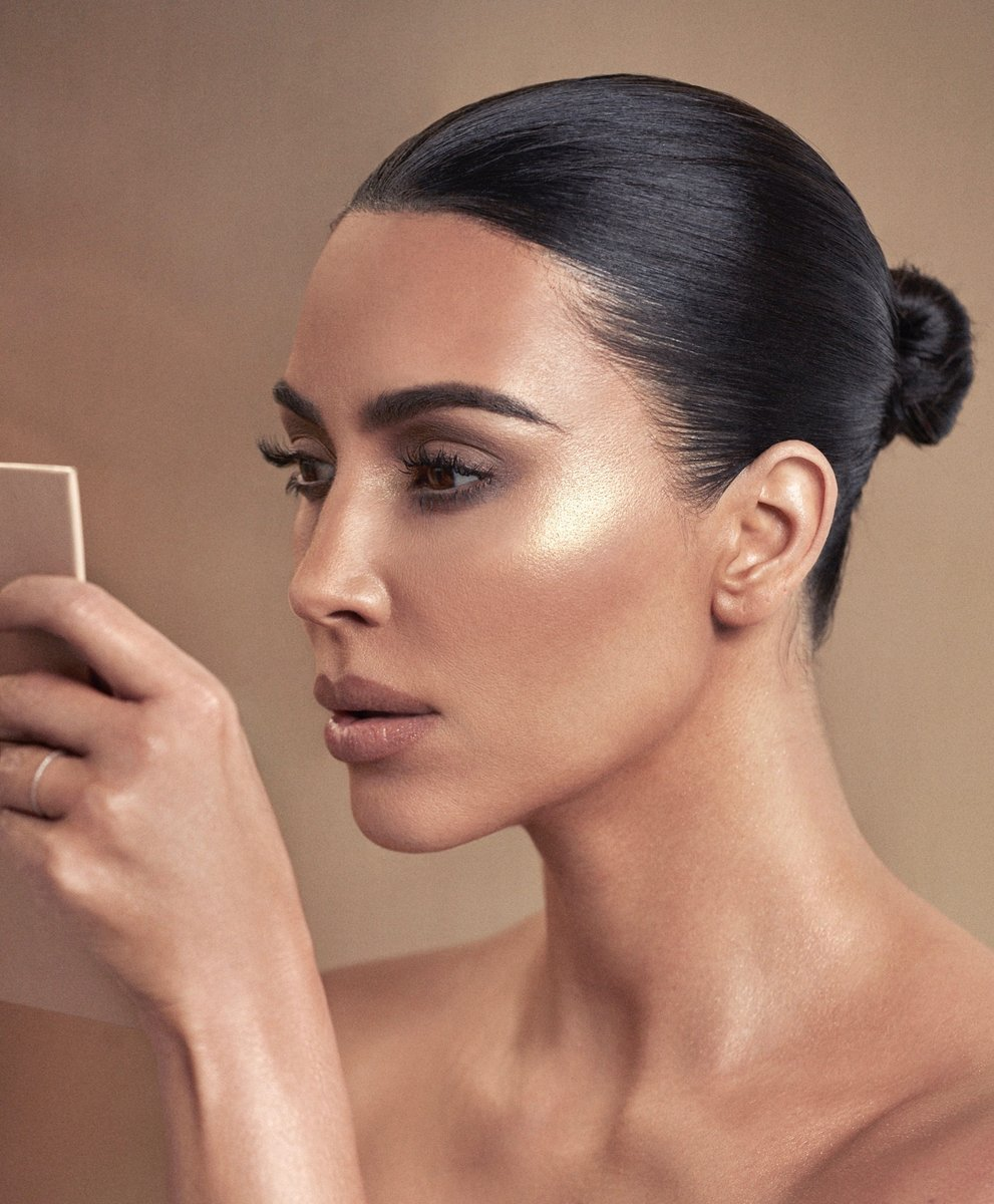 .@KimKardashian   wears the Glitz & Glam Eyeshadow Palette shades Clove and Moonlight on her eyes, and North Star on her cheekbones. The look is complete with 90s Moment Matte Lipstick. Shop the collection now at  http://KKWBEAUTY.COM  . #KKWBEAUTY