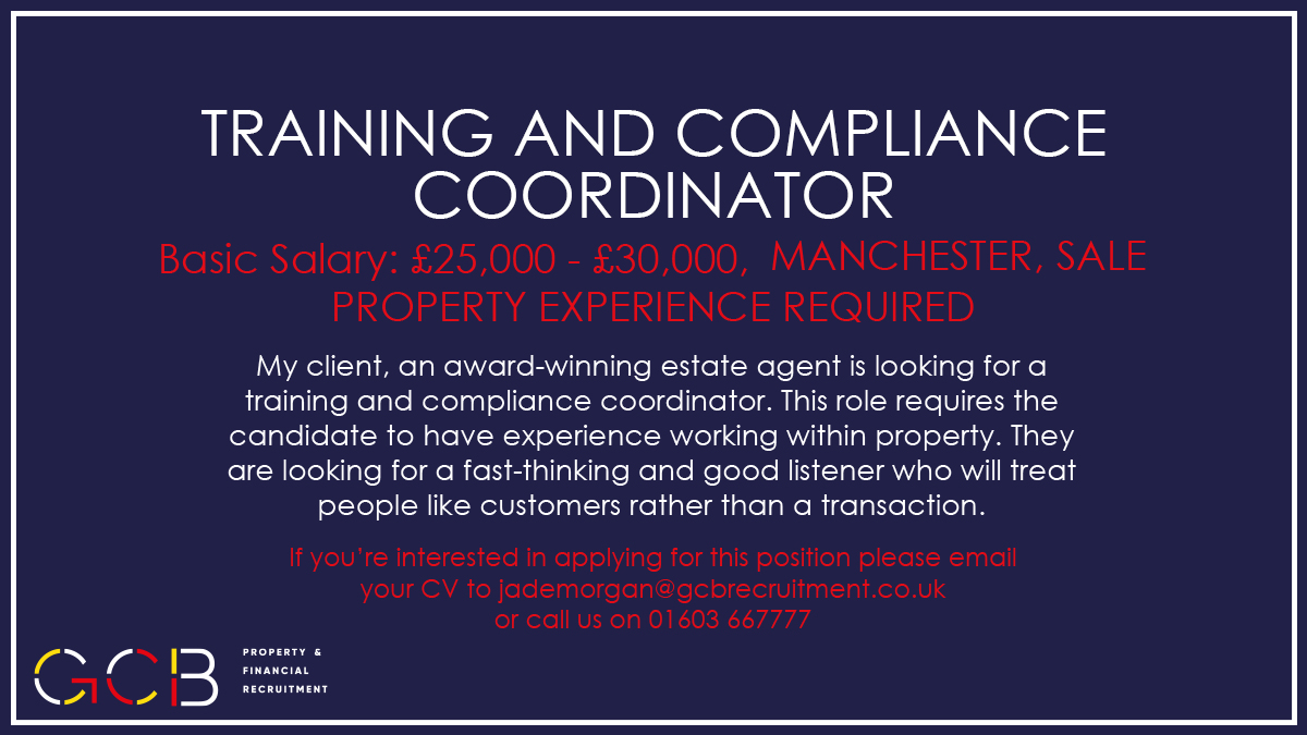 New Job! - Training and Compliance Coordinator - #Manchester #Sale #newjob #training #compliance #coordinator #property