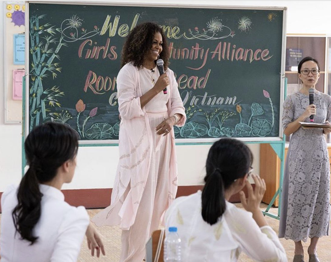 Michelle Obama helping schools in Vietnam ✨#nyes #embroidery #garmentdistrict #customized #nycfashion #accessories #trending #localmanufacturing #cfdaawards #fashiongram #textiles #embellished #cfda #nyembroiderystudio #nyc #nyesmade #madeinnyc