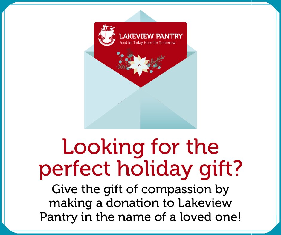 This year, give the perfect #holiday gift: the gift of compassion! Consider donating to Lakeview Pantry in the name of a friend or family member!For a minimum of $50/card, we'll send one to everyone on your list! Email ashley@lakeviewpantry.org to order today! #EndHunger