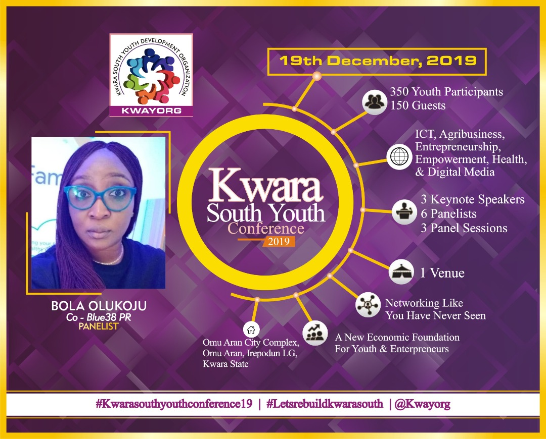Meet @bolaolukoju is one of our panelists, she is a top-performing Communications Director with over 13 years of experience in various industries, highly skilled in Public relations, Digital marketing, and Brand management.     #KwaraSouthYouthConfrence19<br>http://pic.twitter.com/xKWzdvbTZh