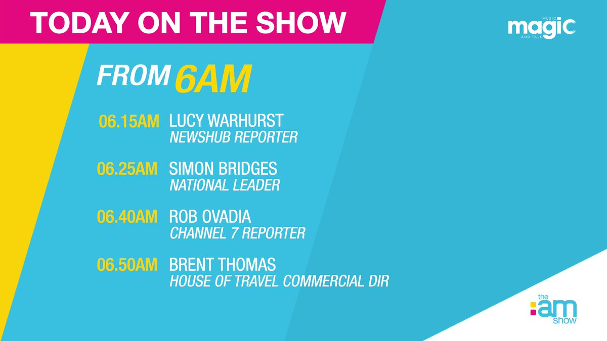 It's Wednesday December 11th. Coming up:  @NewshubNZ Reporter Lucy Warhurst | @Azizle AM Reporter Aziz Al-Sa'afin| @NZNationalParty Leader @simonjbridges | @ChannelSeven Reporter Rob | @houseoftravel Commercial Director Brent Thomas #TheAMShowNZ @ThreeNewZealand| @MagicTalkRadiopic.twitter.com/MIO9uCwqg9