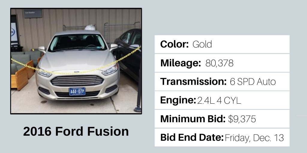 Check out this 2016 #FordFusion up for bid at Penn State's @LionSurplus! For more info on this vehicle and the others available, visit http://ow.ly/rEx650umuFV             Fleet vehicles are available for bid through 3 p.m. Friday, Dec. 13. #FleetVechicleFriday #fordsforsale pic.twitter.com/MFjvL189eL