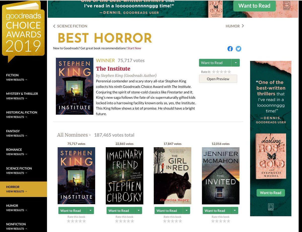 Hey, THE GIRL IN RED came in 3rd overall in the Goodreads Choice awards. That's a podium finish, and I feel pretty good about it considering the competition (I mean, I was never going to beat Stephen King 😅). Thanks for voting!