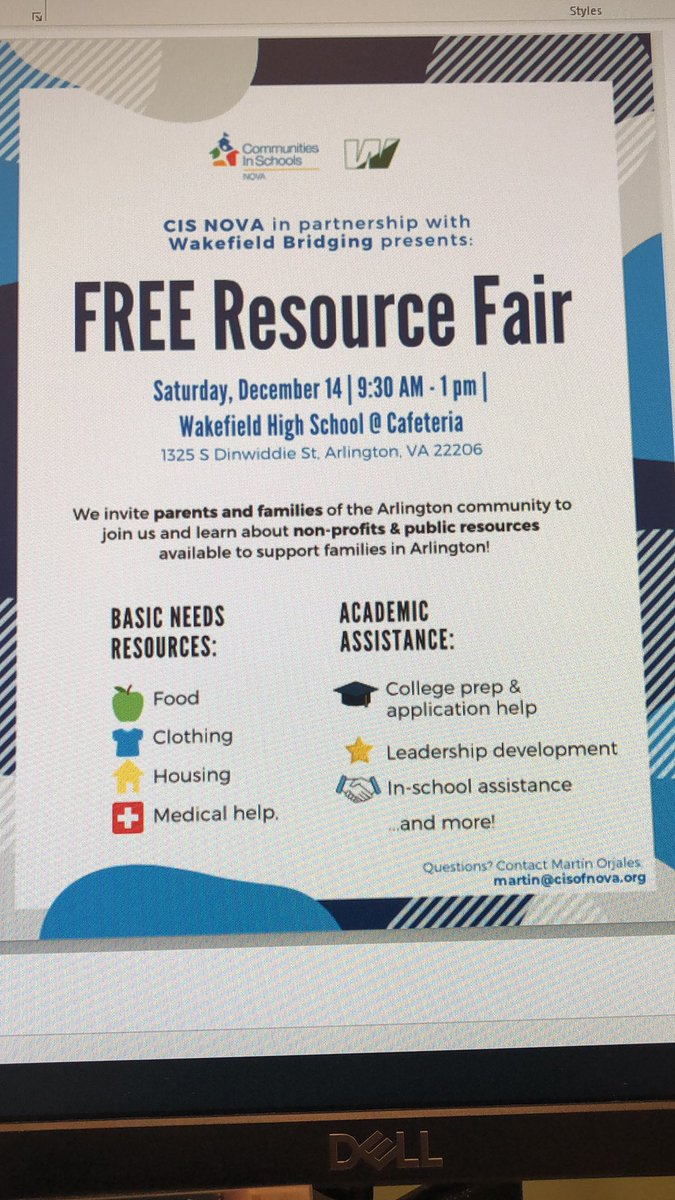 This Saturday Dec 14th not only is it Wakefield Holiday Bazaar but the Free Resource Fair. The fair is for families of Arlington in need of basic resources, including academic assistance.  <a target='_blank' href='http://twitter.com/WHSHappenings'>@WHSHappenings</a> <a target='_blank' href='http://twitter.com/cisofnova'>@cisofnova</a> <a target='_blank' href='https://t.co/UH10tBlT0R'>https://t.co/UH10tBlT0R</a>