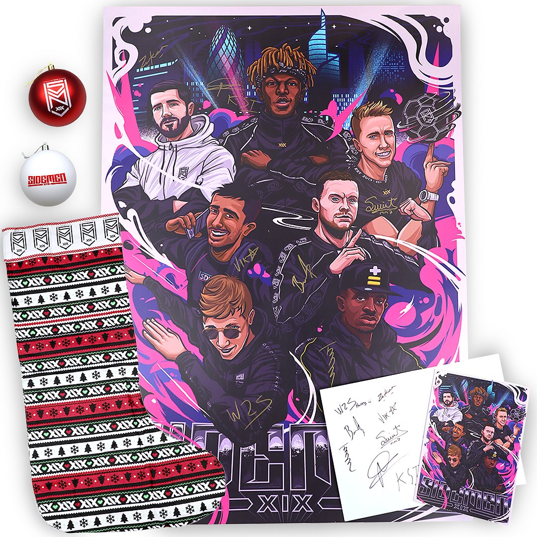 🎁 COMPETITION TIME! 🎁  Like & RT this tweet to be in with the chance of winning some items from our upcoming Christmas drop!!  • Sidemen Bauble Set • Sidemen Christmas Stocking • Sidemen Originals A5 Greetings Cards (SIGNED) • Sidemen Originals A1 Poster (SIGNED)  GOOD LUCK