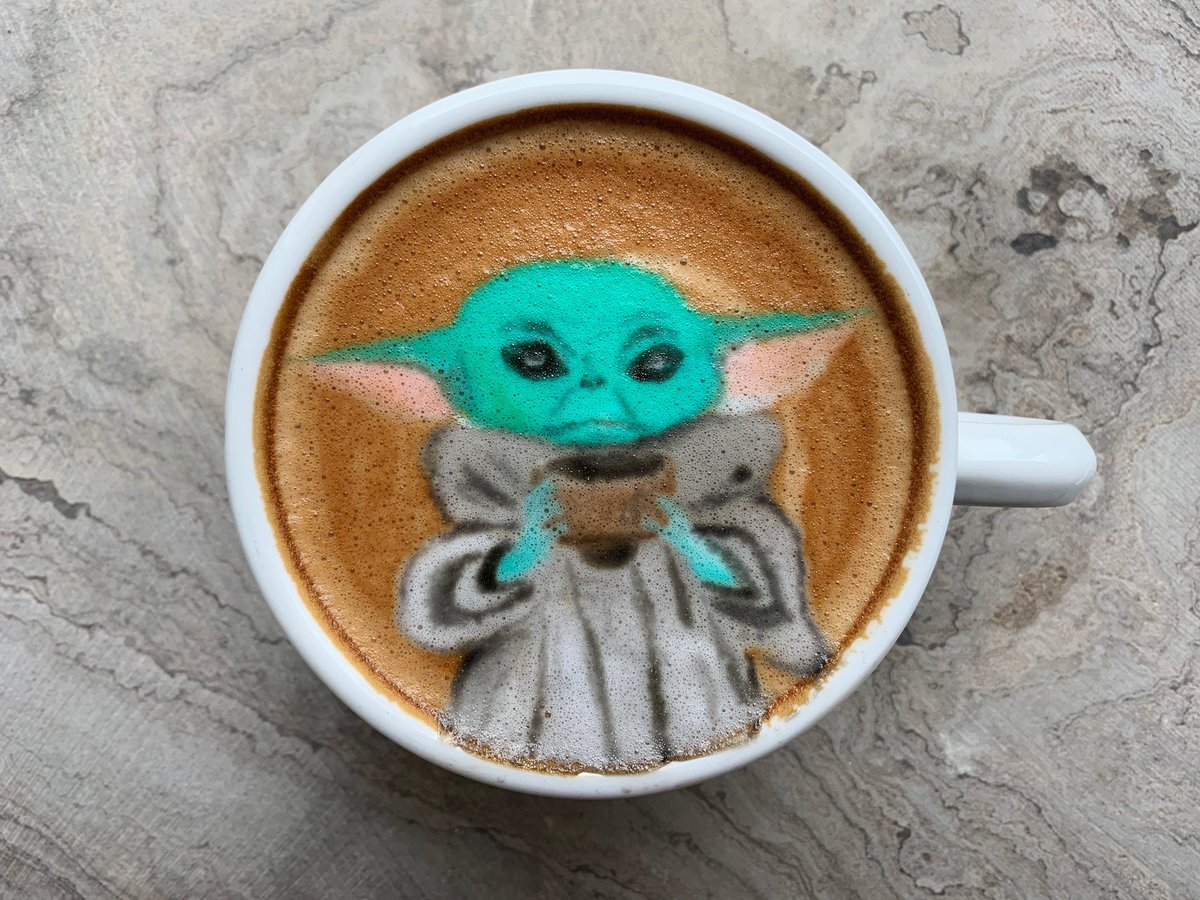 Barista Brian On Twitter Latte Art I Am You Are May The Froth Be With You Babyyodababy Babyyoda