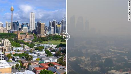 No mention at all of bushfires! NONE My one year old is in Sydney choking on fumes 11 times worse than 'hazardous levels' Fires supercharged by climate change and NOT A SINGLE MENTION Here is Sydney before and now #COP25 #ClimateCrisis
