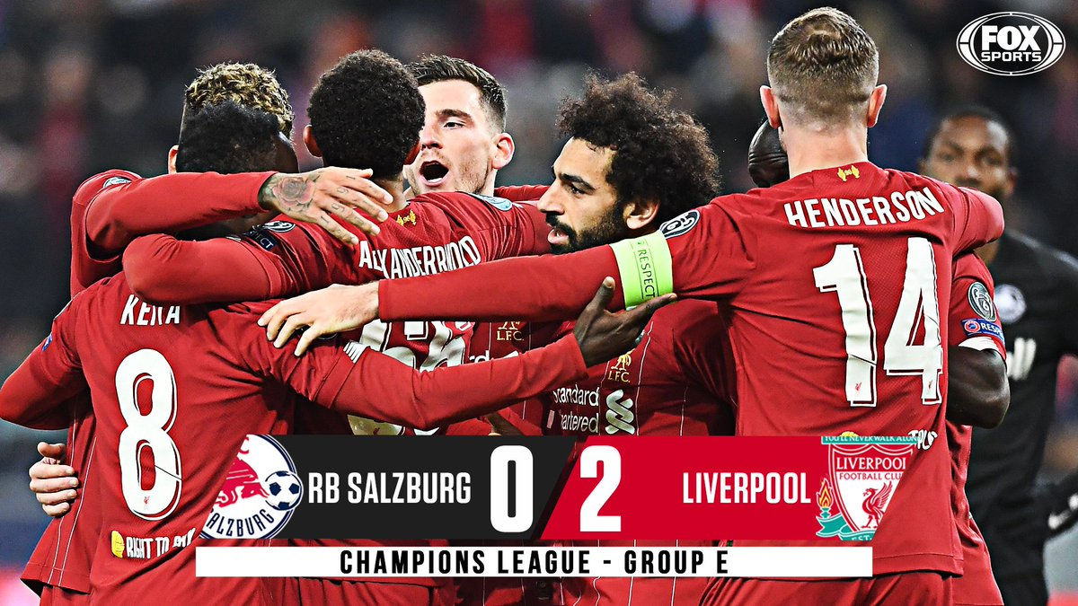 Liverpool are on to the #UCL Round of 16! 🔴 Goals from Keita and Salah get the job done in Austria as the defending champs top Group E.