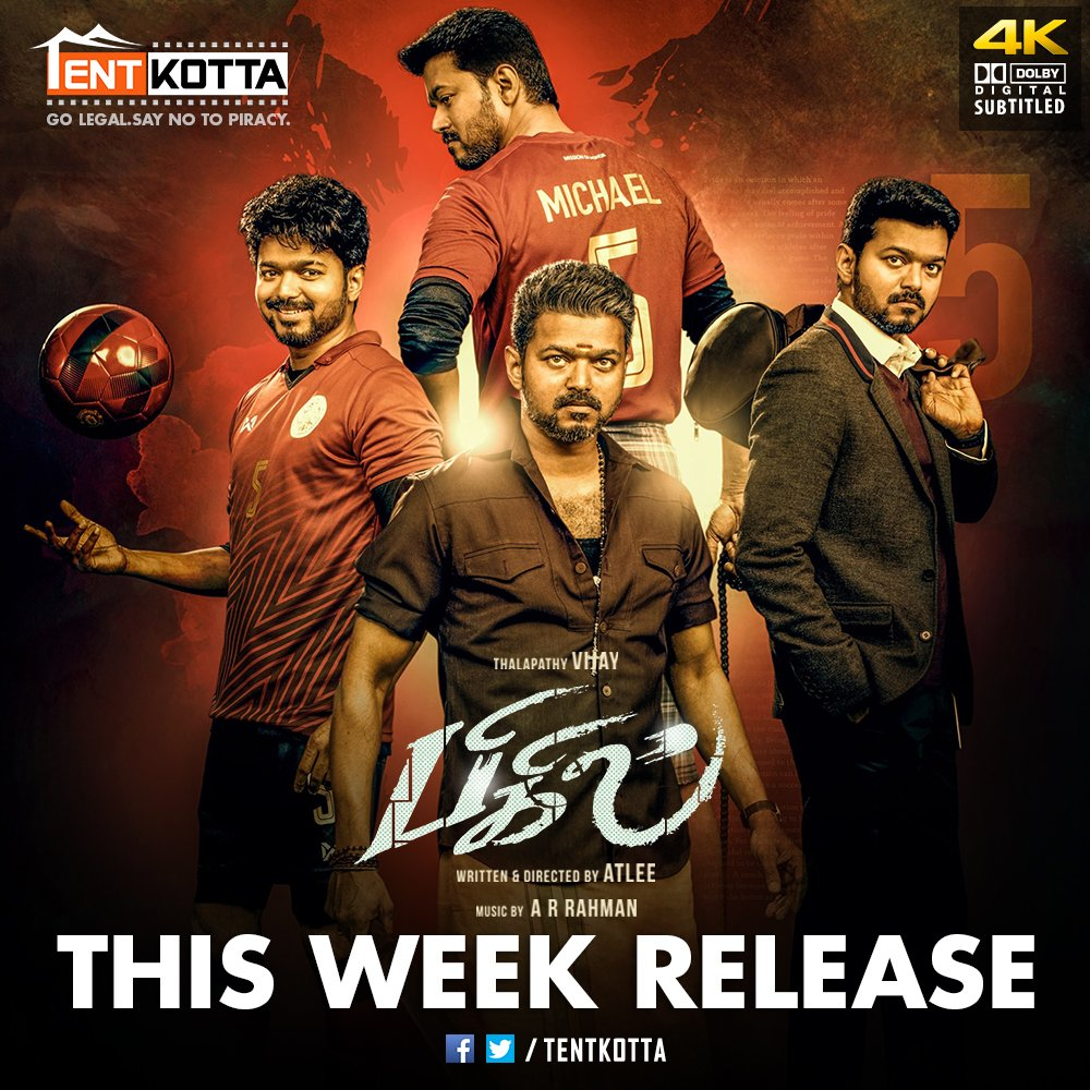 RT @Tentkotta: This Week Release on #Tentkotta: Thalapathy Vijay's mega blockbuster #Bigil.  #GoLegal #SayNoToPiracy https://t.co/eZVEqGSasa