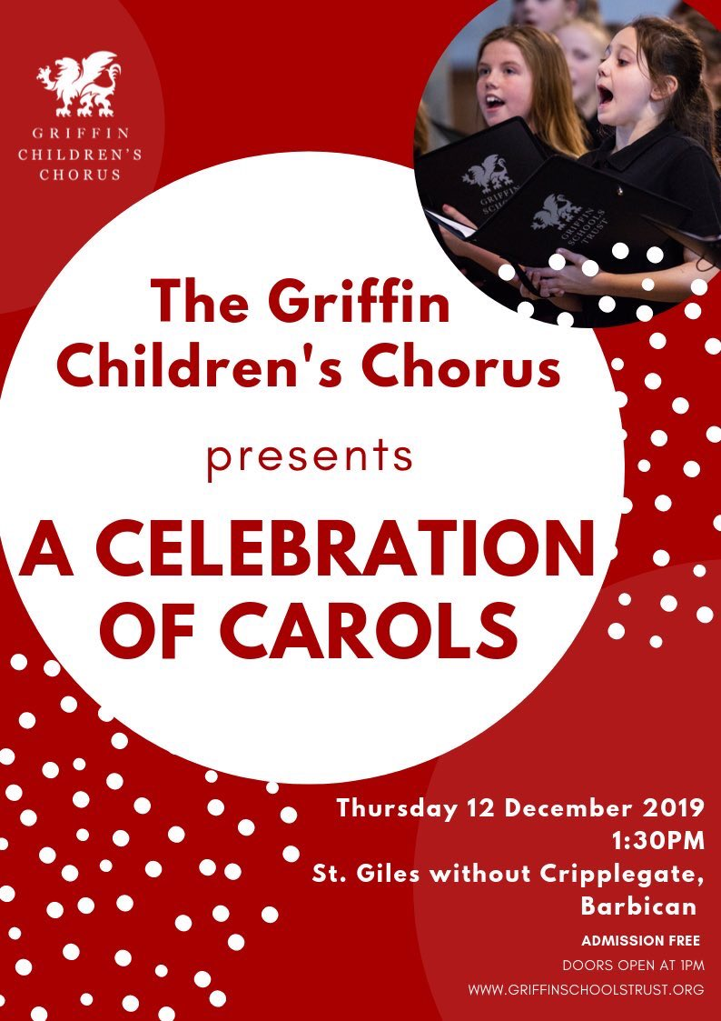 Don't forget to come and join us for our annual lunchtime concert at @stgilescg this Thursday at 1:30. Free entry. @ChadVindin will be on piano and our @Voices_Found schools have a solo spot! #barbicanestate #choir #ChristmasMusic #festive #griffinschoolstrust #proudtraditionspic.twitter.com/f5P9e4ORwJ